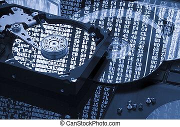 restaurar, concepto, almacenamiento, disco duro, datos, reserva