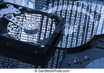 restaurare, concetto, magazzino, disco rigido, dati, backup