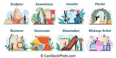 restaurateur, beroep, beeldhouwer, artistiek, bloemist, ...