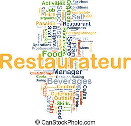 restaurateur, plano de fondo, concepto