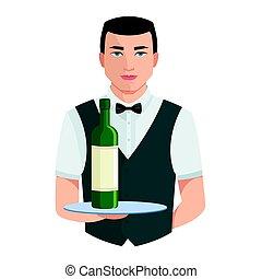 restauration, équipe, staff., waiter., restaurant