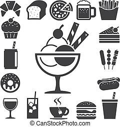 restauration rapide, et, dessert, icône, set.