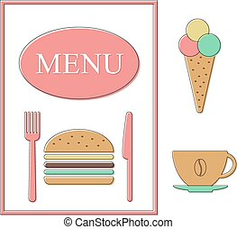 croquis nourriture menu co t je ne vecteur gabarit illustration vecteurs rechercher. Black Bedroom Furniture Sets. Home Design Ideas