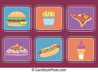 restauration rapide, icônes, illustration