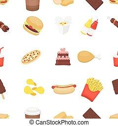 restauration rapide, modèle, icônes, dans, dessin animé, style., grand, collection, restauration rapide, vecteur, symbole, illustration courante