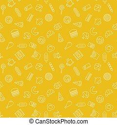 restauration rapide, modèle, -, seamless, jaune, vecteur, texture