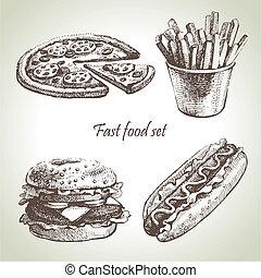 restauration rapide, set., main, dessiné, illustrations