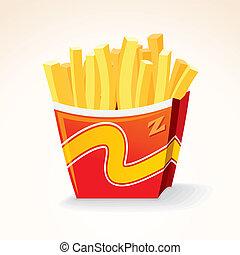 restauration rapide, vecteur, icon., frites, pomme terre, bucket.