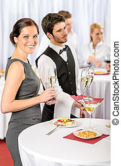 restauration, service, à, compagnie, événement, offre, champagne