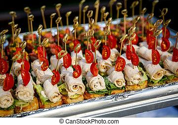 restauration, service., restaurant, table, à, nourriture, à, event.
