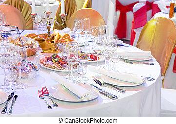 restauration, service, table, décoration