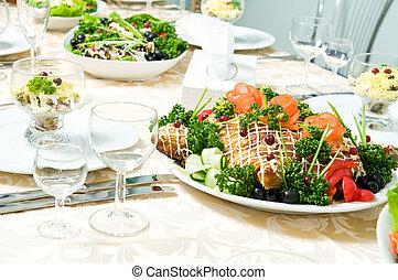 restauration, table, ensemble, décoration