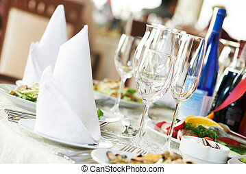 restauration, table, ensemble
