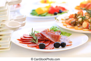 restauration, table, ensemble, service