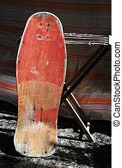 restaure, um, antigas, vindima, madeira, skateboard