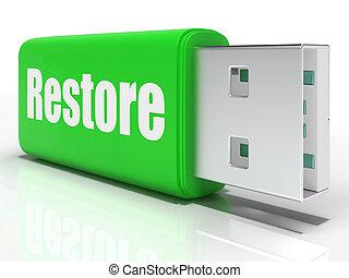 restaurer, moyens, données, sûr, conduire, stylo, copie, sauvegarde, ou