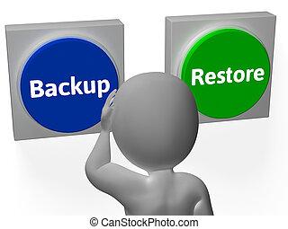 restaurer, récupération, exposition, sauvegarde, archive, boutons, données, ou