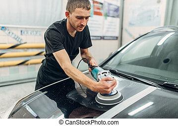restaurera, person, bil, måla, förbereder sig, manlig