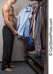 rester crise, shirt., nue, choisir, modèle, mâle, torse