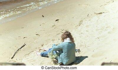 rester, femme, ensoleillé, fleur, 4k, plage, jour