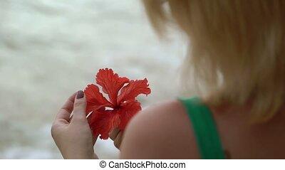 rester, femme, plage, fleur, rouges