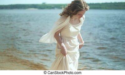 rester, femme, robe, ensoleillé, fleur, 4k, plage blanche, jour