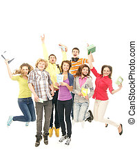 rester, groupe, ados, ensemble, isolé, regarder, appareil photo, sourire, blanc