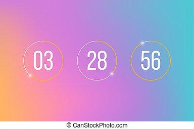 rester, numbers., compteur, bas, vecteur, minutes, compte, heures, illustration, horloge, arrière-plan., minuteur, compte rebours, blanc, doux, seconds., moderne, gradient