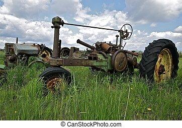 rester, skelett, gammal, traktor