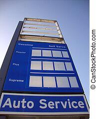 rester, station, gas, underteckna