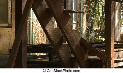 restes, cassé, escalier, stilted, maison