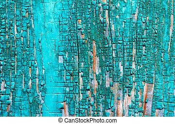 restes, texture bois, peinture, arrière-plan vert, vieux, planches, grange