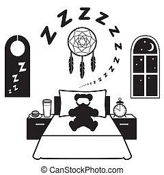 Restful Sleep Icons - Symbols of restful sleep. Teddy bear,...