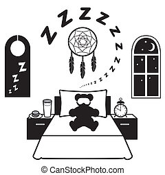 Restful Sleep Icons - Symbols of restful sleep. Teddy bear,...
