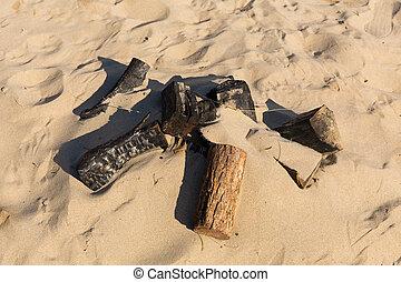 resti, piccolo, sabbia, falò