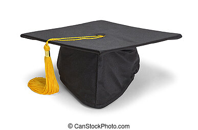 Resting Black Grad Hat - Black Graduation Hat with Gold...