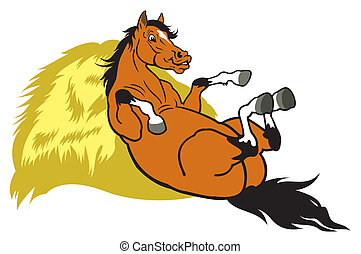 resting cartoon horse - cartoon horse resting on hay...