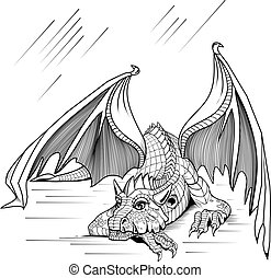 Resting dragon on a white background