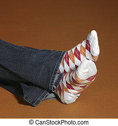 resting feet in socks