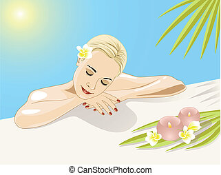 resting girl in swimming pool wiht flowers and palm leaves