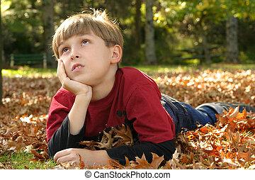 Resting in Parklands - Child resting in a park amongst ...