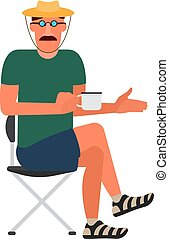 Resting man sitting on a folding chair in a T-shirt, shorts, sandals and a hat.