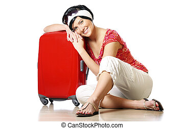 Resting on a suitcase
