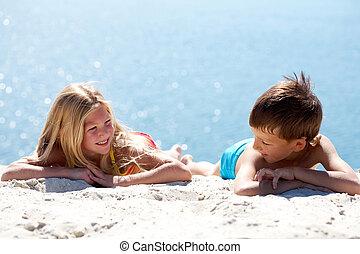 Resting on sand