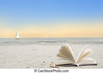 Resting on the beach - Lonely beach with book and shell in...
