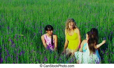 The group of cheerful young women resting in a field of flowers.