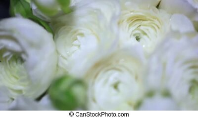 Resting White Rose Bouquet on wedding day
