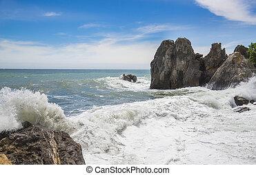 Black Sea and blue sky. Gurzuf, Crimea