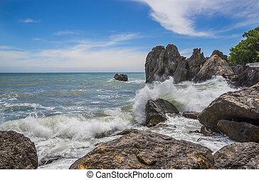 Restless Black Sea in Gurzuf village, Crimea