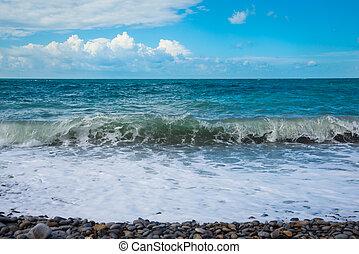 Restless Black Sea. Deep sea water waves